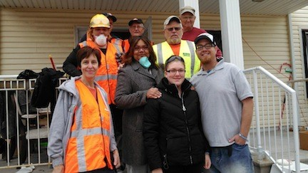 Michael Gordon, far right, and his girlfriend Kathleen Bracker, second from right, with Nazarene Disaster Relief volunteers in the Rockaways.