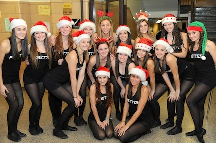 The kickline team performed at the Mepham High School fashion show.