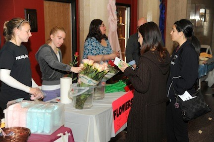 Flowers, candy and gift baskets were sold outside the auditorium.