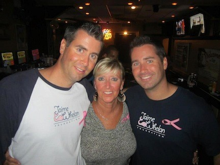 Joe, James and their mom Susan Whelan at the fifth annual Jaime Whelan Foundation fundraiser at the Beach House in September.