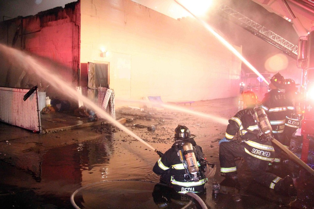 More than 100 firefighters battled an early morning blaze that destroyed the Knights of Columbus  building at 970 W. Beech St.