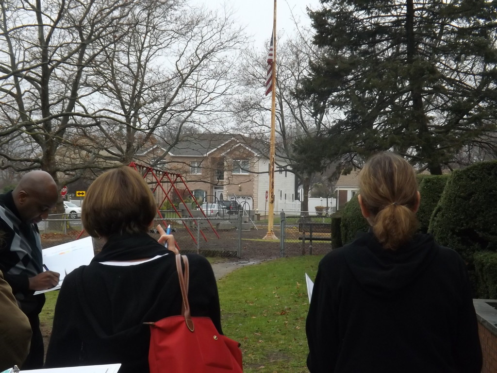 Board members got a look at Willow Road School's flagpole during District 13's annual facilities tour on Dec. 8. Administrators say they would like to replace the aging pole.