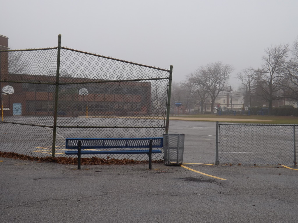 The board looked at the blacktop at Wheeler Avenue School, which will be replaced next year.