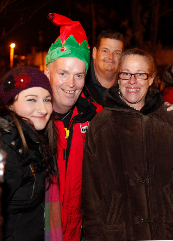 Alyssia Kapelle, Tom Rice, James Fried and Linda Seiffert, all of the Vineyard Church, handed out hot chocolate at the Rockville Centre Tree Lighting on Dec. 6.
