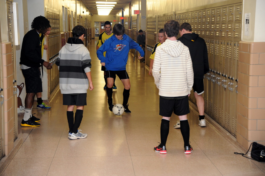 Teams warmed up in the hallway for a friendly round-robin competition.