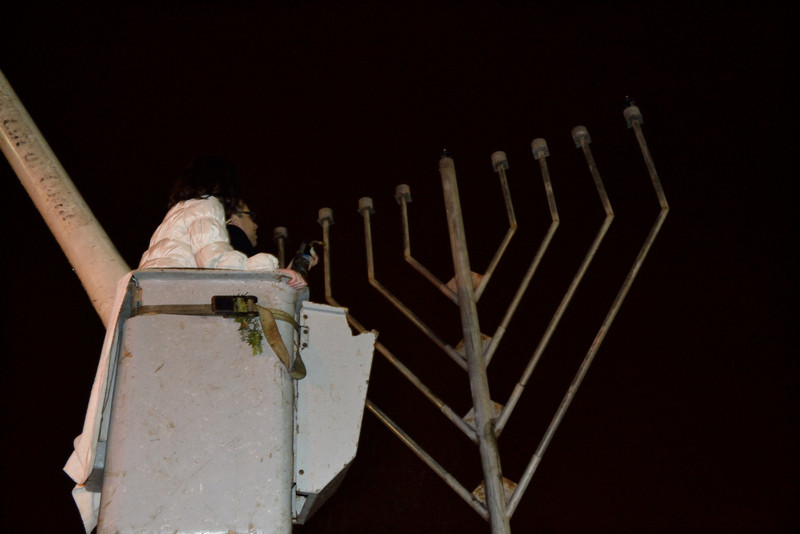 Cedarhurst Park played host to the lighting of a menorah on the first night of Hanukkah.