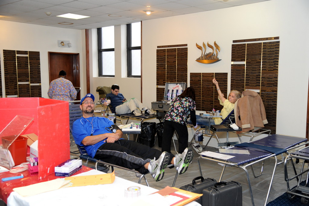 At the Congregation Sons of Israel blood drive 43 pints were collected. Donors from left were, Doug Scheinman, Yigal Roscangargio and Richele Albert.