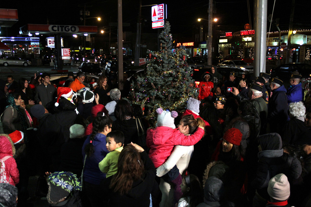 The tree was lit in Veteran's Square.