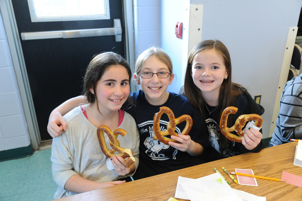 New friends Julia Miller, left, from Oceanside, with Julia Limmer and Sarah Clancy from Plainview-Old Bethpage.