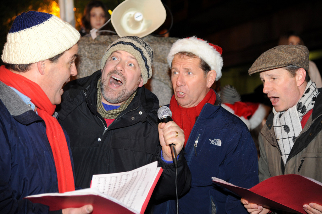 Tom Brucia, Hal Cohen, Jerry Morsch and Alan Scott, from left, of Sound Approach sang a capella tunes before the tree was lit.