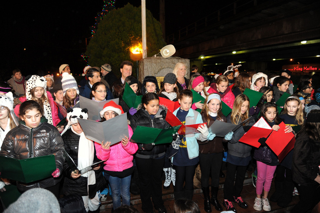 Students from Dinkelmeyer and Martin Avenue schools sang carols in front of the Bellmore tree.
