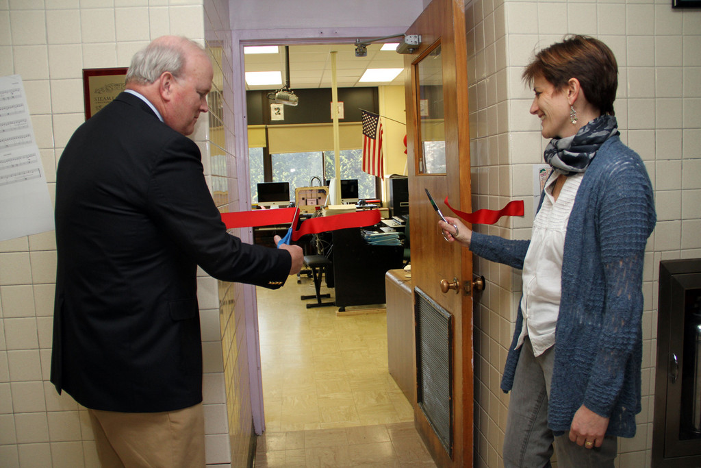 Ron Carman, RVC Education Foundation president, and Board of Education President Liz Dion cut the ribbon to the STEAM Lab on Dec. 14, marking its official opening.