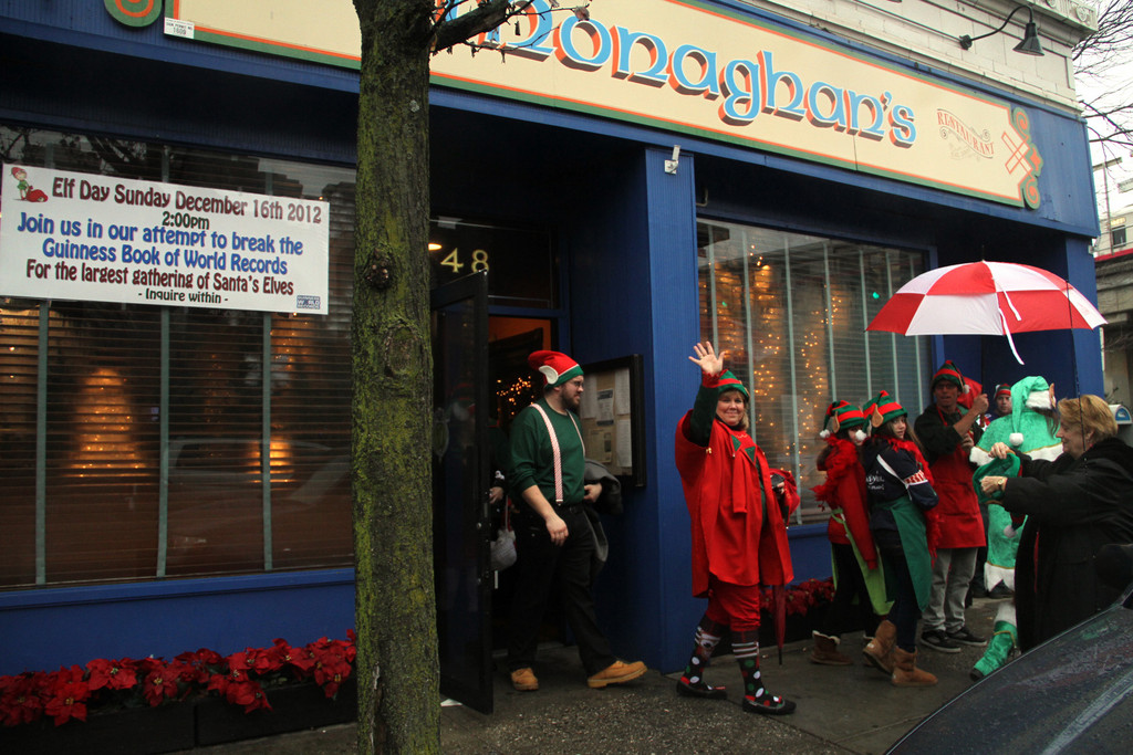 Elves leave Monaghan�s to make their way to the registration site.