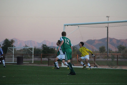 Rockville Centre Josh Levine, right, keeps track of the ball while goalkeeping at a tournament in Arizona during Thanksgiving weekend.