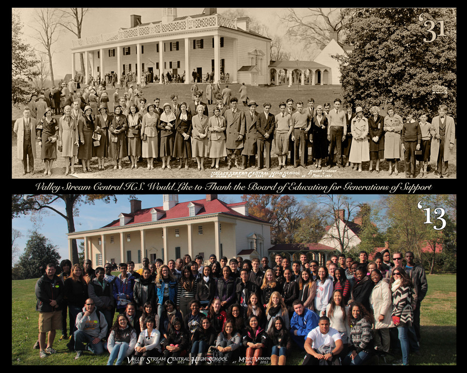 These two pictures, featuring Central High School�s classes of 1931 and 2013, were taken in Mount Vernon, Va. more than 80 years apart.