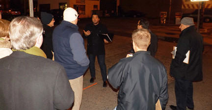 Envision Valley Stream President David Sabatino led a walking tour on Rockaway Avenue last week to discuss possible improvements to the village's business district.