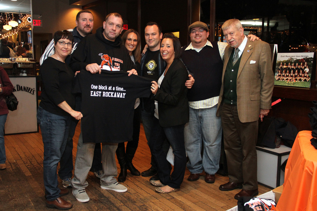 These Rebuilding the Rock chairpersons and East Rockaway Education Foundation members were among those who were instrumental in organization this successful event. Pictured from left were Vera Gallagher, Thomas Casabona, John Fitzsimmons, Dana Kallman, James Temple, Amanda Cooney, Daniel Caracciolo and Richard Meagher, president of the Education Foundation.