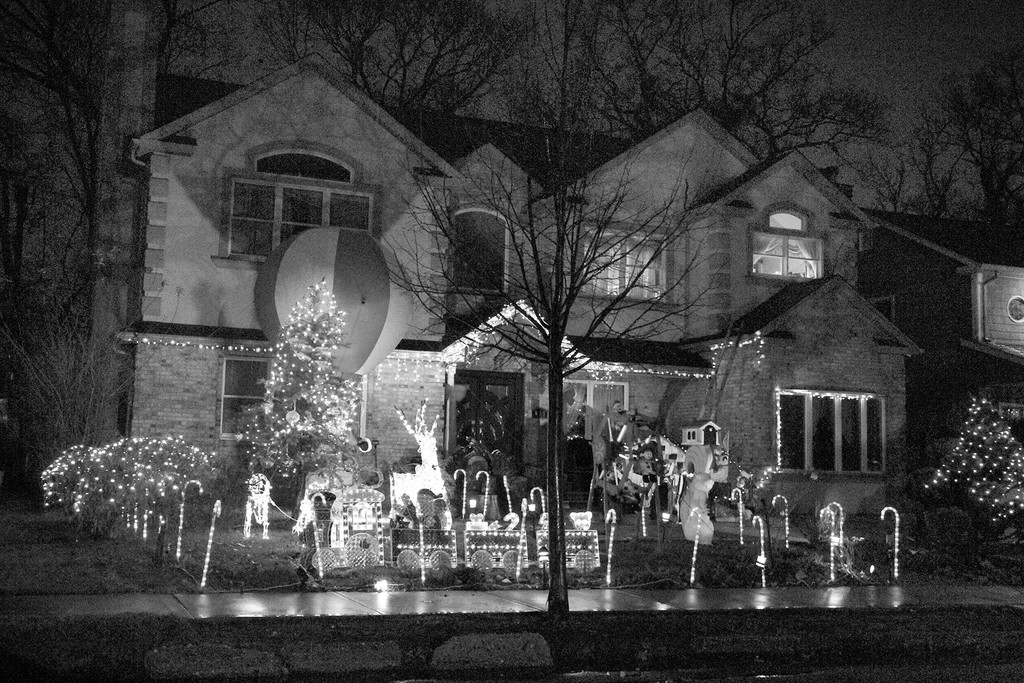 This Catalpa Drive home in Franklin Square is festively decorated.