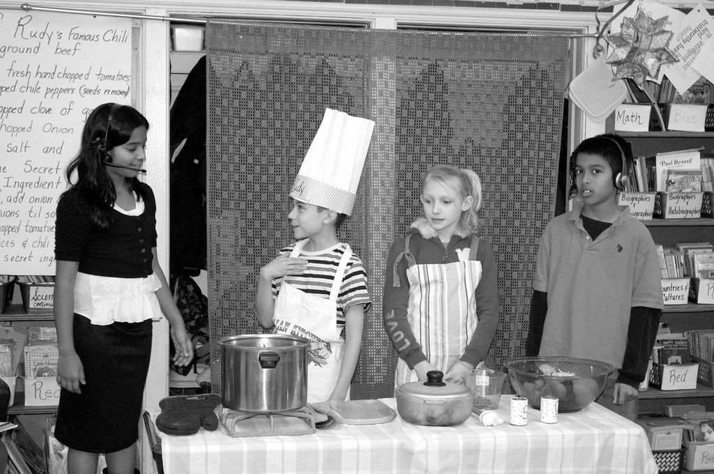 Fifth-graders Fiona Kurian, Anthony Gioletti, Angelina Wilson and Jared Smith, along with their entire class, acted in a cooking show-themed short play at Covert Avenue School in Elmont. The play was from their reading book, tying together everyday curriculum elements with an exciting artistic activity.