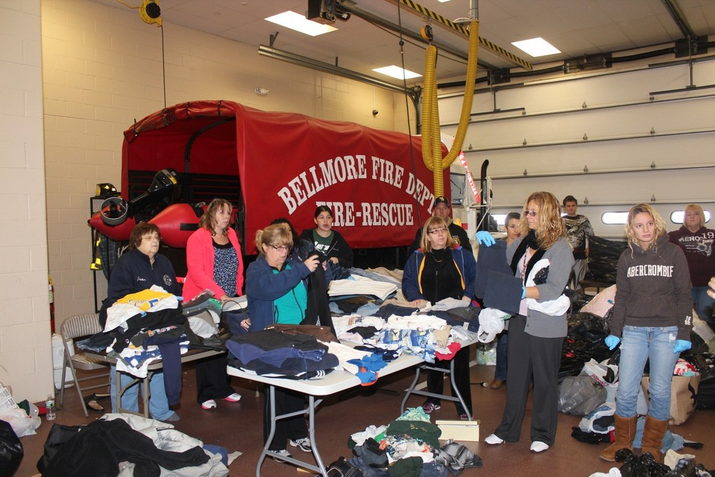 Fire Department volunteers held a clothing drive in the days after Sandy.