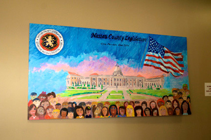 The mural, drawn by art students at Woodland Middle School, was dedicated in the Nassau County Legislative Building last Saturday.