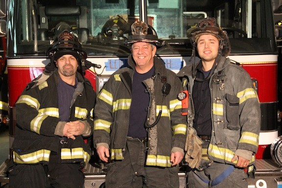 Firefighter Ralph Tuccillo, Lt. Tom O�Dowd and firefighter Sam Pinto were among the city's first responders during Hurricane Sandy and the weeks that followed.