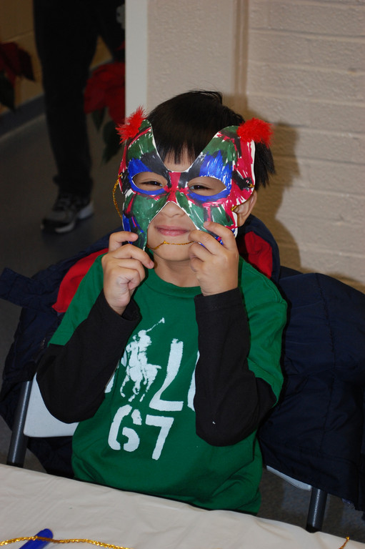 Luke Lopez, 6, made a mask.