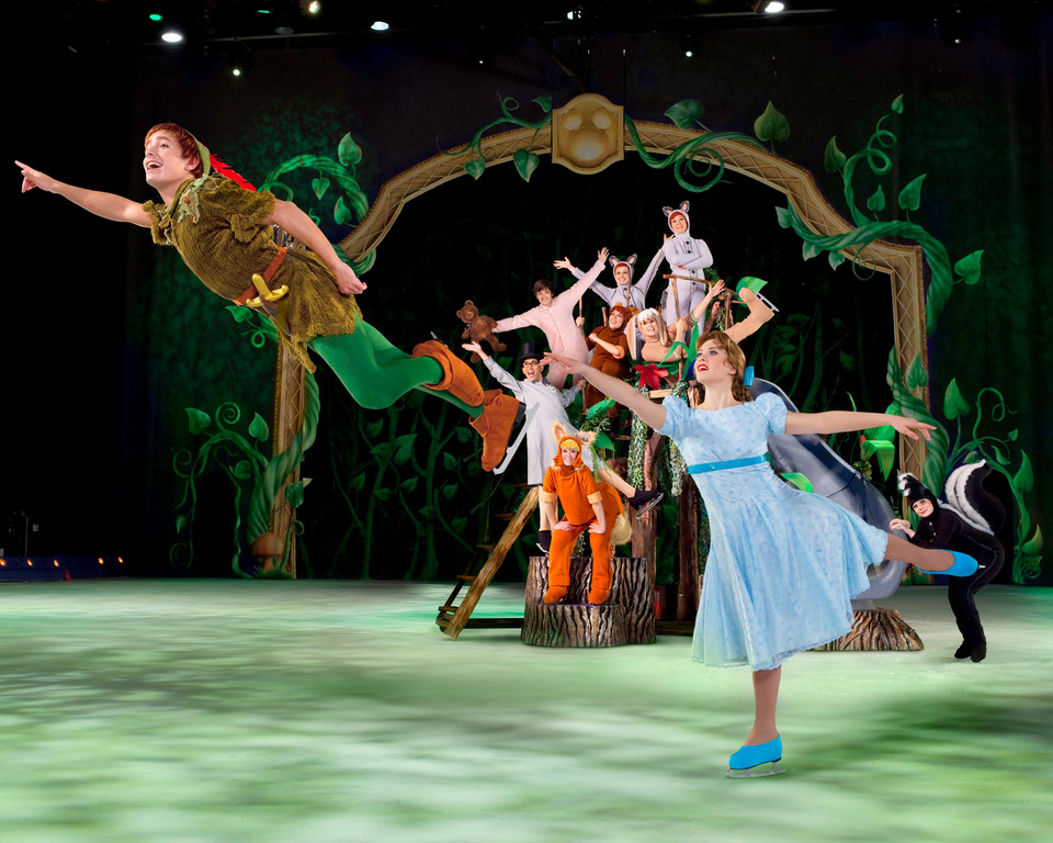 "Peter Pan brings Wendy, Michael and John to the Lost Boy's hideout when the film classic is reenacted in ""Treasure Trove"" at Nassau Coliseum."
