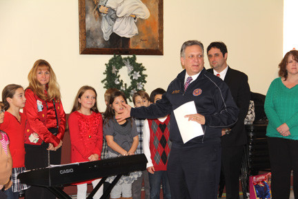 County Executive Ed Mangano spoke to the crowd and to the student chorus from Francis X Hegarty. All students in the chorus are members of the student council and were led by their music teacher, Mrs. Sambolin.