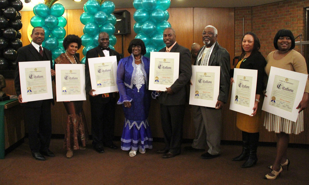 Reverend Philip McDowell, pastor of South Hempstead Baptist Church; Carolyn Harding, a local performer; Wilton Robinson Jr., president of Roosevelt Public Library; Dorothy Goosby; Melvin Walker, owner of More Steak than Philly restaurant in Baldwin; Reginal Lucas, president of the Hempstead Coordination Council of Civic Associations; Florence Simmons, principal of Uniondale High School; and Theresa Sanders, president of the Urban League of Long Island.