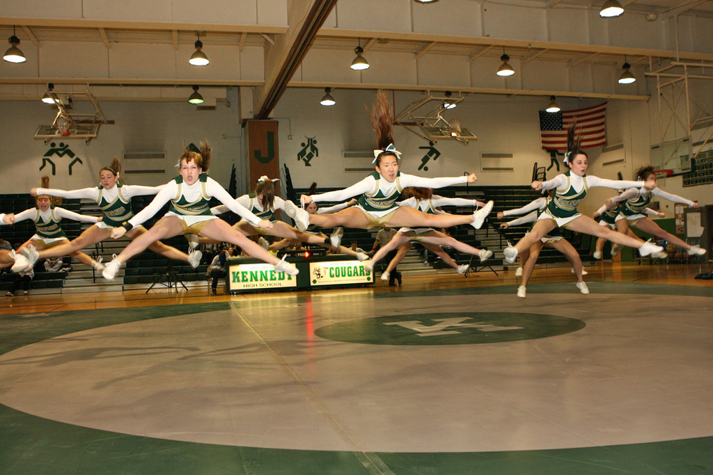 "The Kennedy cheerleaders fired up the crowd that had ""jammed the gym"" for the first time this winter."