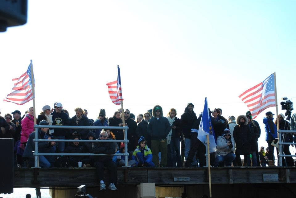 Residents lined the boardwalk to watch the ceremony.