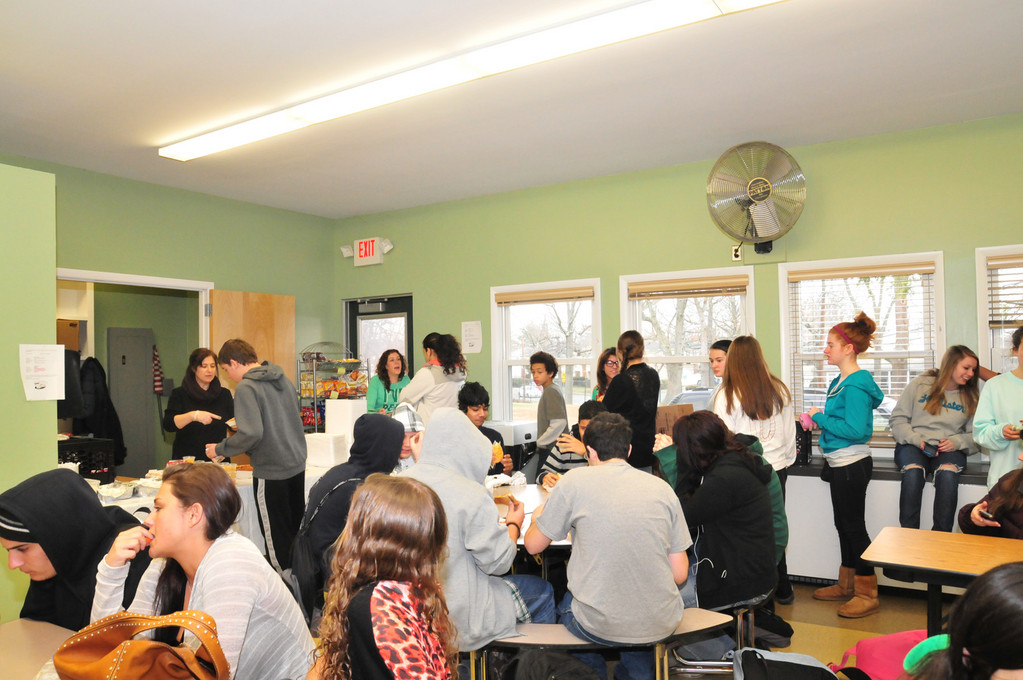 When the cafteria gets too crowded, students can eat and socialize in a nearby classroom.