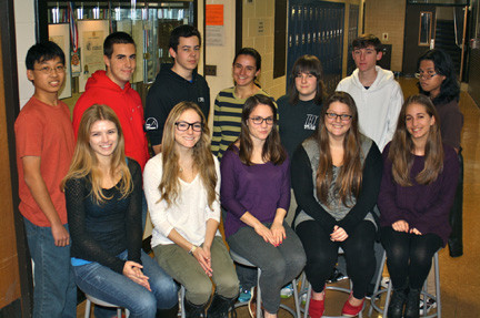 Twelve Lynbrook High School students submitted research papers to the 2013 Intel Science Talent Search. Front row from left were Stephanie Mertz, Zoe Daniels, Olivia Mooney, Dana Fader and Olivia Watman. Back row from left were Brandon Wong, Edward Tischler, Jordan Goldsamt, Rose Paskoff, Tess Lewin-Jacus, Maxwell Brown and Nicolai Tayco.