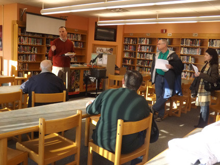 North High School Principal Cliff Odell showed the Board of Education where he would like to add a new computer lab in the school's library at the Valley Stream Central High School District's annual facilities tour last Saturday.