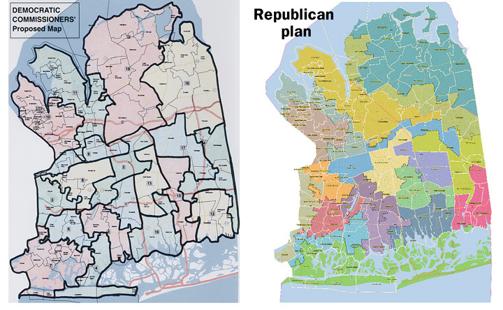 The Democrat and Republican redistricting plans are very different.
