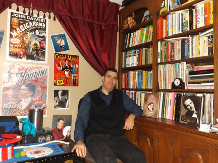 Lou Johnson has had a love of magic and performing since he was a child, and now makes a living out of it. His home in Valley Stream has a Magic Room that features a robust library where he practices his upcoming acts.