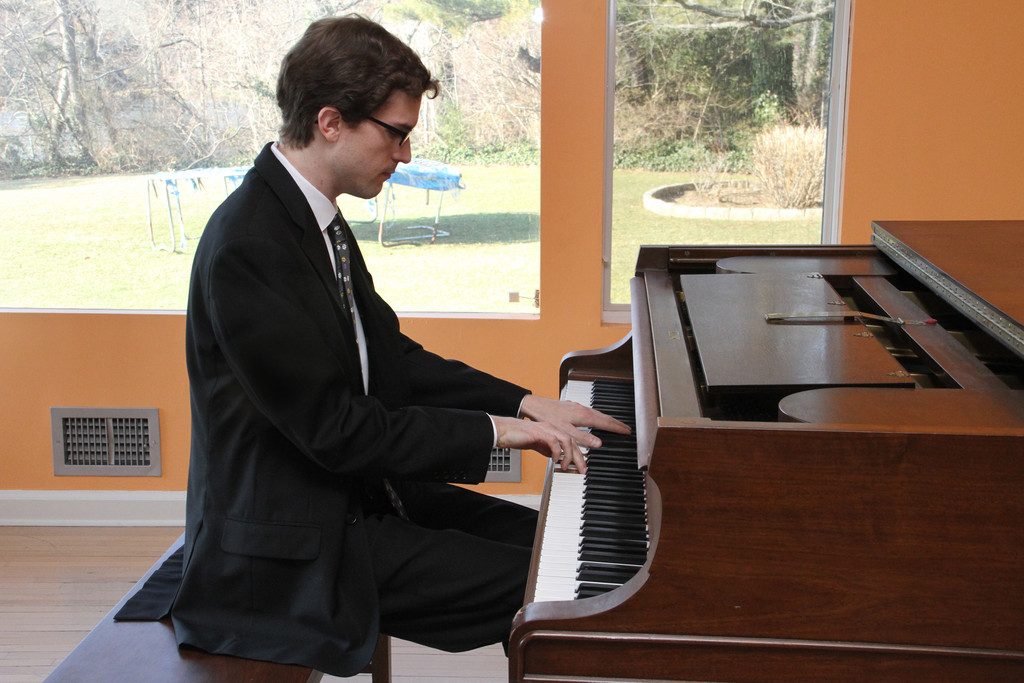 Pianist Evan Mitchell performed several classical pieces to honor the memory of Five Towns Music and Art Foundation founder Selma Seider.