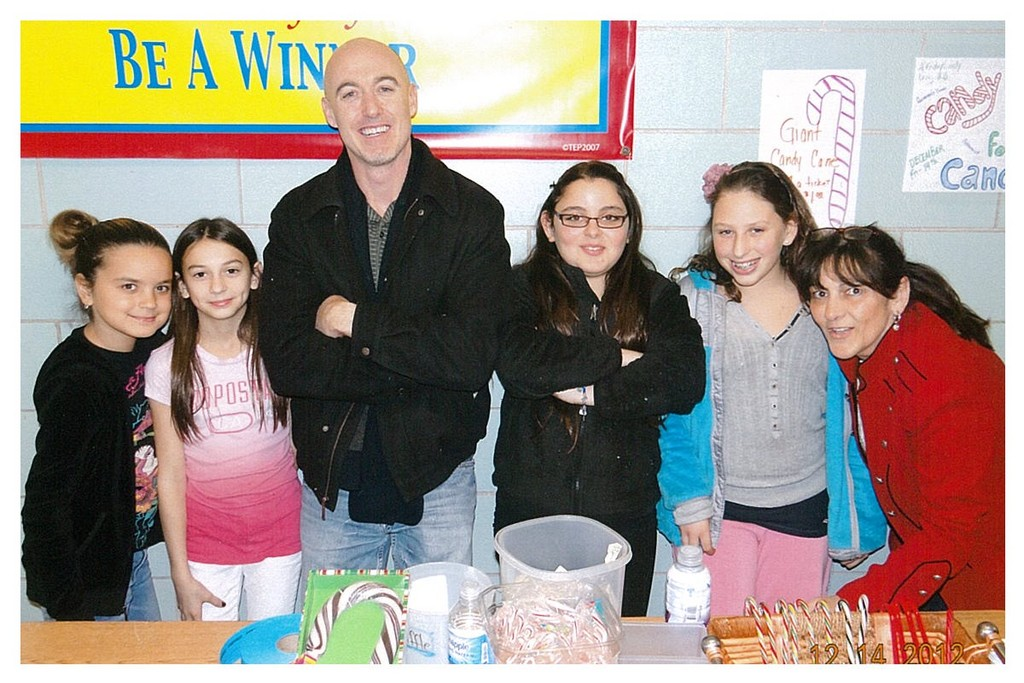 Lawrence Middle School students sold candy canes and raised $498 for cancer research. From left were, Ava Ali, Allyssa Magliaro, guidance counselor Brian Donaghy, Rachel Bohnik, Michelle Barash and Joyce Kesten.
