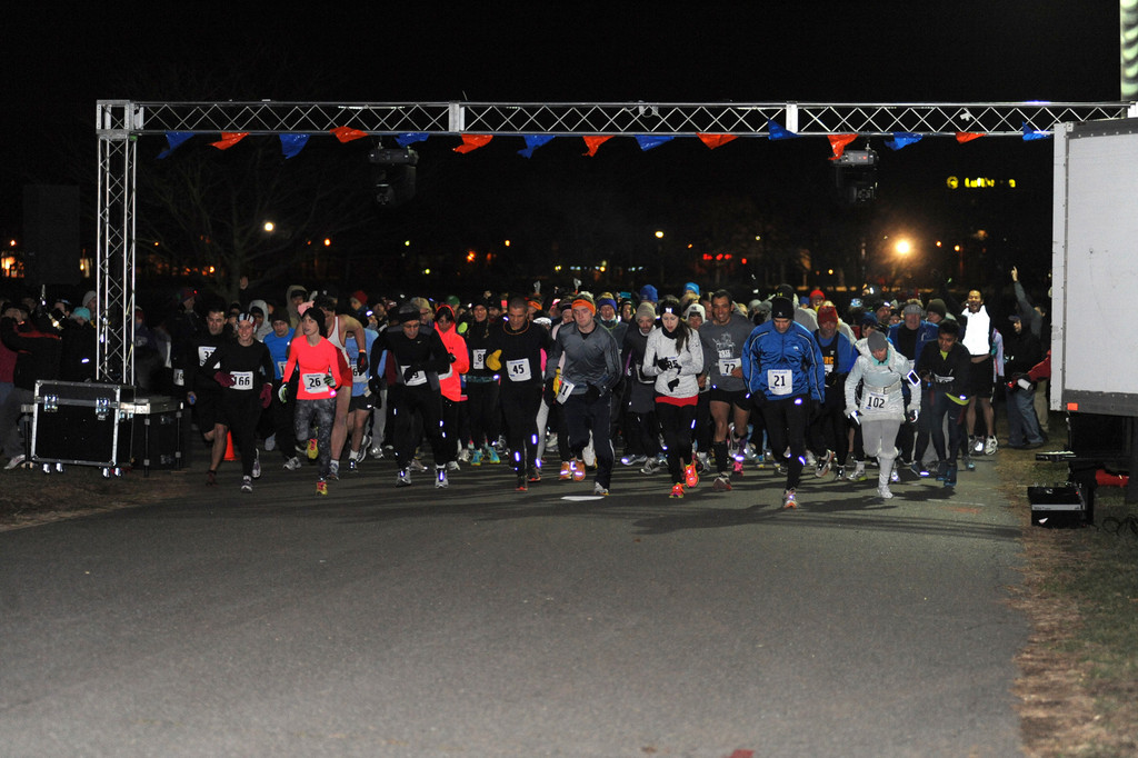 The First Annual 5k New Year's Eve Dash at Eisenhower Park kicked off at midnight on Dec. 31, as runners from across New York dashed into the new year.