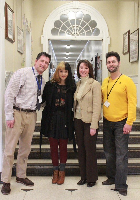 "Principal Mark Gray, Melanie Martinez, Assistant Principal Janine Rossi and music teacher Andrew Nadien reunited last Friday at Plaza Elementary. Martinez, whose run on ""The Voice"" captivated Baldwin, caught up with her former teachers and spoke to students about the importance of reading."