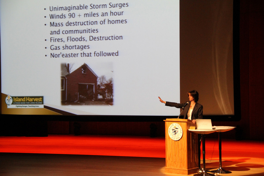 Randi Shubin-Dresner, CEO of Island Harvest, spoke on Jan. 9 at Molloy College to representatives from food-distribution organizations across Long Island about Hurricane Sandy relief.