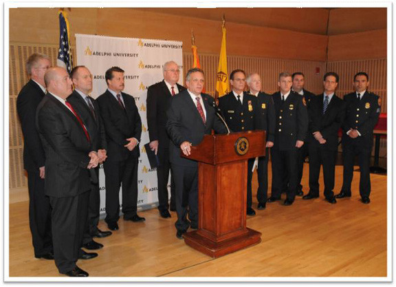 Nassau County Police Department and county officials talked about school shootings.