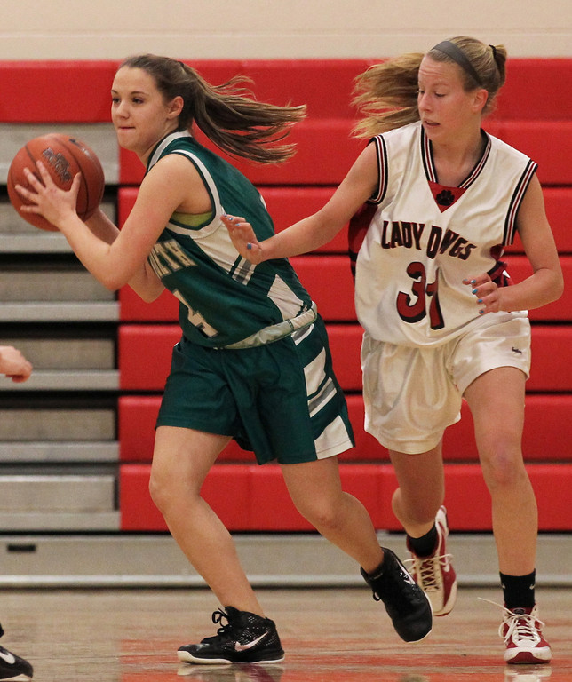 Senior Lauren Collura, left, had 18 points in Valley Stream North's 43-37 defeat to Conference A-IV rival Island Trees last week.