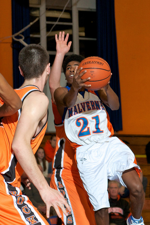 Malverne's Jarmel Richardson drove the lane during the team's 61-51 victory over Conference B-C rival East Rockaway on Jan. 10.