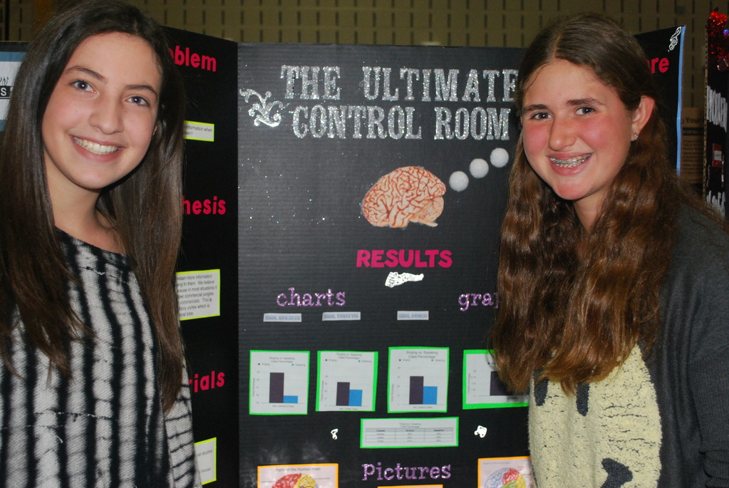 Speaking and singing were used by Erin Schecter, left, and Mycheal Schnell to learn the best way people learn to retain information.