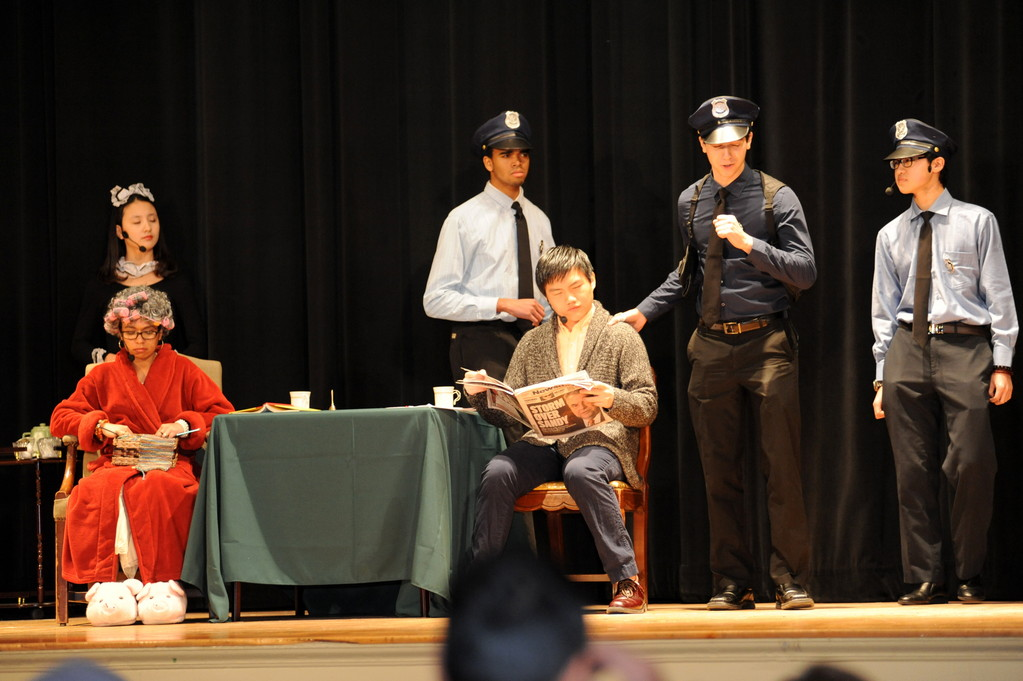 "Lawrence Woodmere Academy students performed ""The Drawing Room"" on Jan. 11 and 12. From left were Carina Yijiung (the maid), Marni Goodstein (the Woman), Brandon Funderburke (Dave), Clark Jiang (the Man), Joshua Torres (Sgt. O'Malley) and Kevin Li (Sgt. MacBuck)."