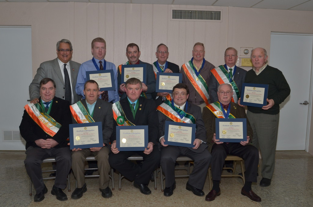 The Cedarhurst-based Ancient Order of Hibernians Division 3 installed a new slate of officers. Standing from left were Town of Hempstead Councilman Anthony Santino, Financial Secretary Patrick Kerens of Cedarhurst, Marshall P.J. Dunning of East Rockaway, Recording Secretary Richard Breen of Hewlett, Tom Lavelle of Farmingdale, Deacon Tom Costello of Valley Stream and Timothy Cotter of East 