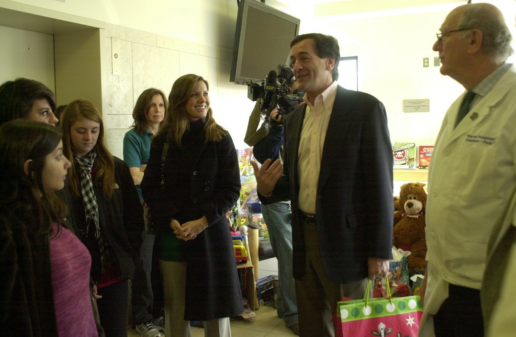 Fuschillo, center, chatted with Mepham High School students when they visited the Pediatric Department. Fuschillo sponsored a toy collection drive that the Mepham students joined in. At left was the Mepham student government adviser, Mary Corbelli-Ferrante, and at right was Warren Rosenfeld, chairman of the Pediatric Department.