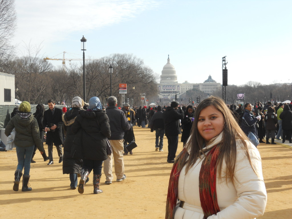 Herald Intern Felicia Del Rio on the National Mall on Inauguration Day 2013.